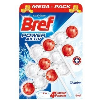 Bref Power Aktiv WC blok s chlorem  3 x 50 g
