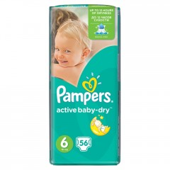 Pampers Active Baby-Dry pleny 6 Extra Large, 15+ kg 56 ks